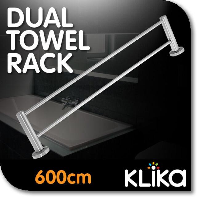 PREMUIM MATT STAINLESS STEEL DUAL TOWEL RAIL RACK 600mm