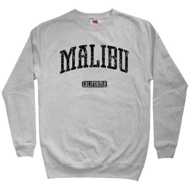 Malibu California Men/'s Sweatshirt Crewneck S-3X Gift Zuma Beach Surfing CA