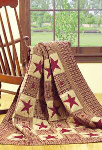 Vintage-Star-Wine-Patchwork-Quilted-Throw