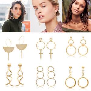 Fashion-Women-Gold-Long-Tassel-Geometric-Ear-Stud-Drop-Dangle-Earrings-Jewelry