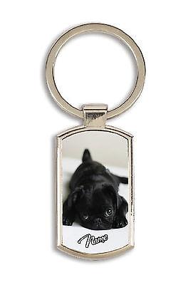 Cute Black Pug Rectangular Keyring Personalised Great Birthday Gift