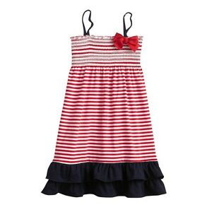c087316f036 OshKosh Girls 4-6 Red White Blue Stripe Patriotic 4th July Summer ...