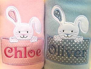 New personalised easter bunny baby fleece blanket boy girl pink image is loading new personalised easter bunny baby fleece blanket boy negle Image collections