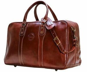 9b9a322edfb3 Cenzo Trunk Duffle VECCHIO Brown Italian Leather Weekender Travel ...