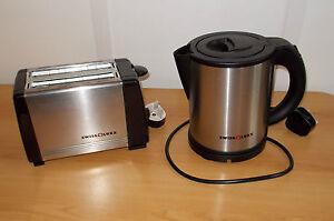 Electric-Low-Watt-1L-Swiss-Luxx-Stainless-Kettle-AND-Toaster-Caravan-Motorhome