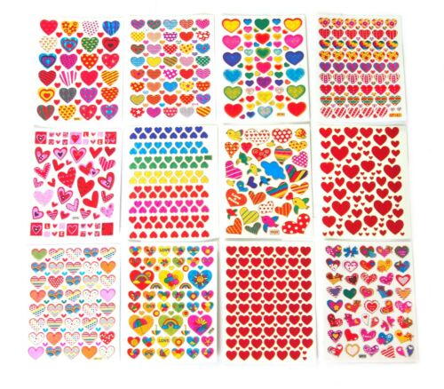 12 SHEET SHINY HEART LOVE VALENTINE DAY STICKERS DECALS MIX COLOR STYLE