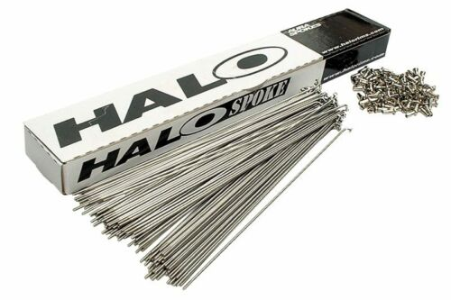 Box of 100 Halo MTB Black or Silver Stainless with Nipples Road Spokes