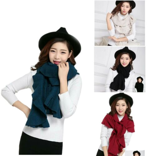 Shawls Black Red Beige Teal Womens Large Knitted Ruffle Scarves