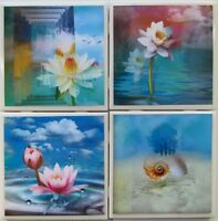 Set Of 4- Handmade Natural Stone Ceramic Tile Drink Coasters- Water Flowers1 - F