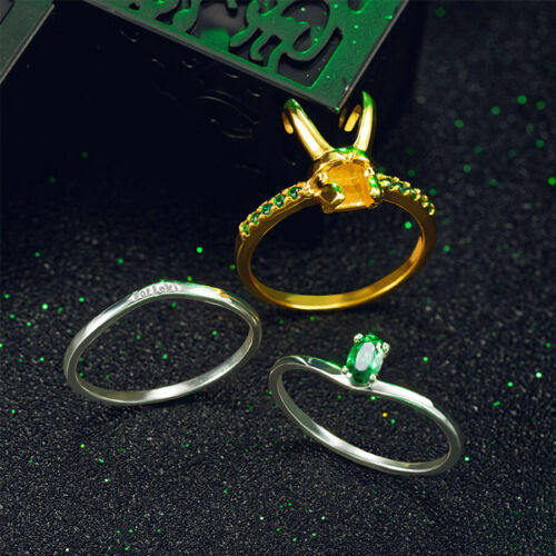 Thor Loki Helmet 925 Siver Gold-Plated 3PCS//Set Ring Men Jewelry Gifts For Women