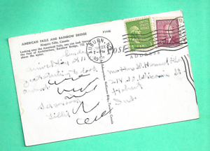 Double-Country-Franking-Canada-US-Auburn-NY-Postcard-Coil-Niagara-1951-Cayuga-Co