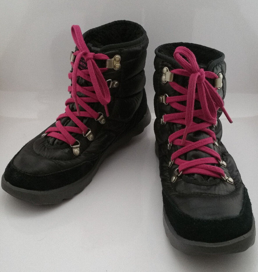 The North Face Womens 6 Black Thermoball Pink Lace Boots Shiny Puffy Winter shoes