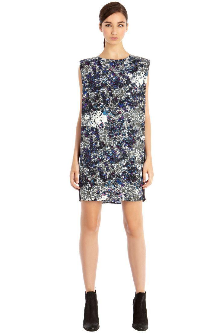 WAREHOUSE FLURO LACE SHOULDER DRESS