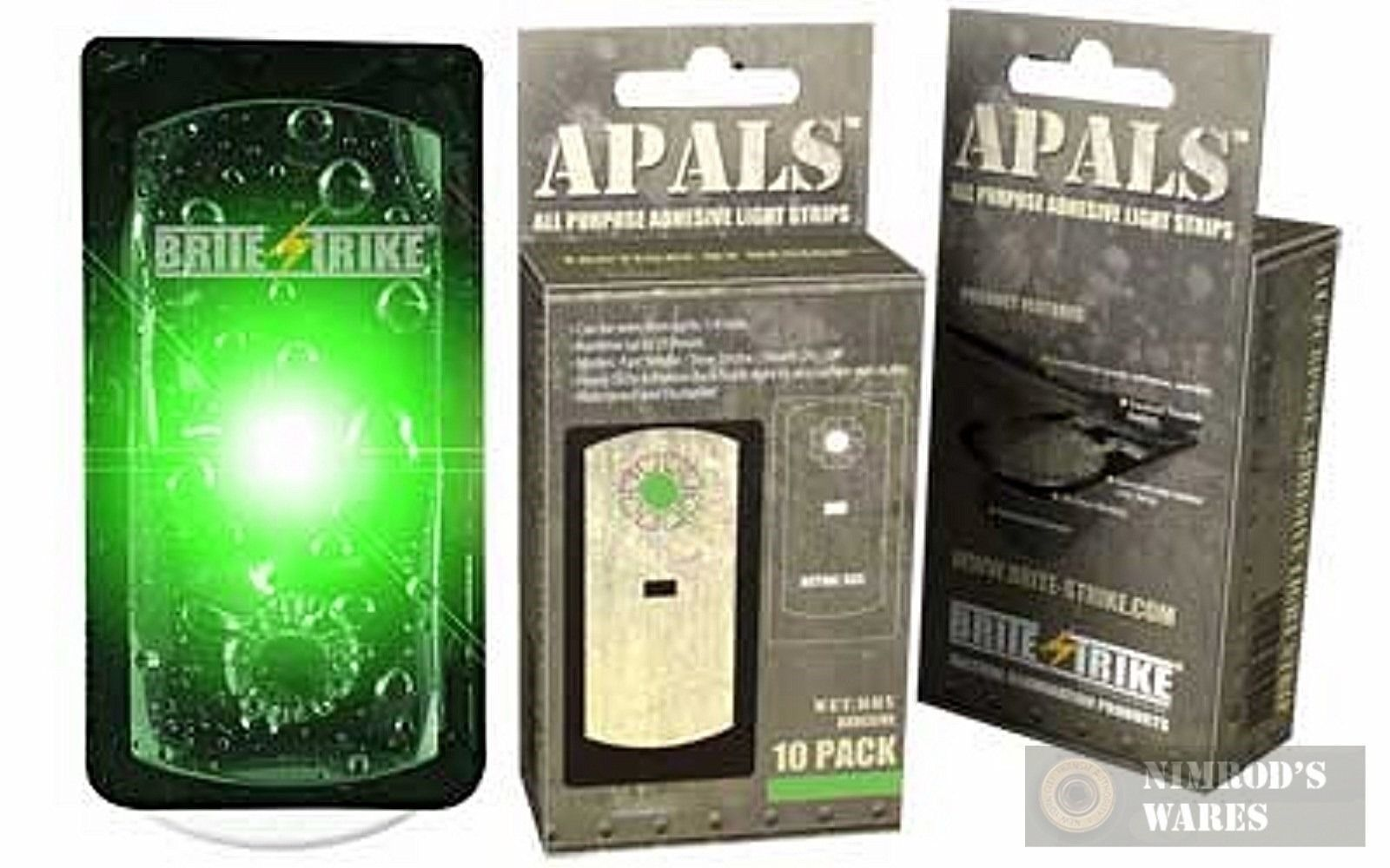 BRITE-STRIKE APALS10-GRN Adhesive Light Strips GREEN x 10 Pk. NEW FAST SHIP