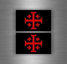 2x flag Sticker car biker maltese shield airsoft crusader cross templar knights