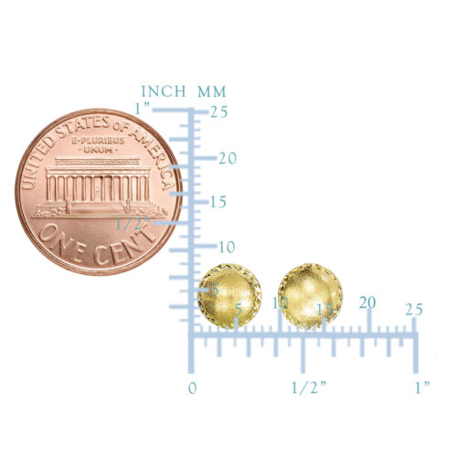 8mm Details about  /14K Yellow Gold Satin With Diamond Cut Edges Stud Earrings