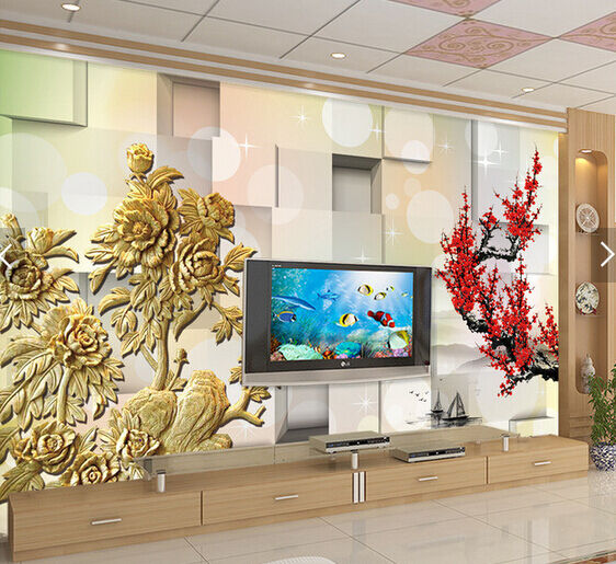 3D golden Flower 345454 Fototapeten Wandbild Fototapete BildTapete Familie DE