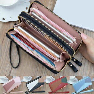 Phone-Card-Holder-Wallet-Clutch-Large-Capacity-Pocket-Women-Double-Zip-Leather