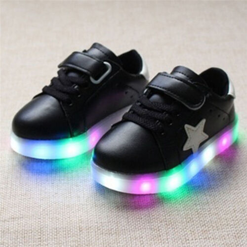 UK Kids Baby Girl Boy Toddle Light Up Shoes LED Flashing Sneakers Trainers Size