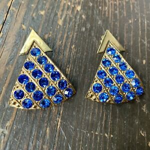 Vintage-ZOE-COSTE-Couture-France-Blue-Rhinestone-Earrings-Clip