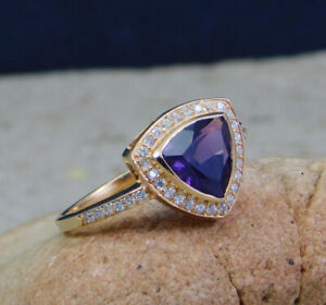 Solid-925-Sterling-Silver-Amethyst-CZ-Gemstone-Rose-Gold-Plated-Gift-Ring-KR1117
