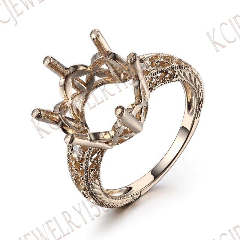 Semi Mount Round Cut 11-12mm 14K Yellow gold Fine Diamond Jewelry Wedding Ring