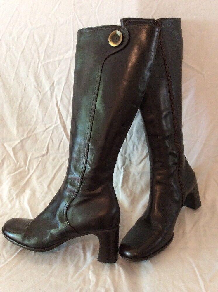 Hobbs Braun Knee Knee Braun High Leder Stiefel Größe 39.5 53641b