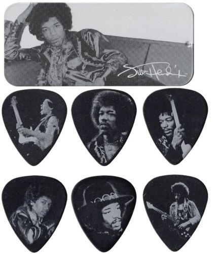 Jim Dunlop Jimi Hendrix Silver Portrait Pick Tin 12 Heavy Guitar Picks JHPT05H