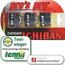 3 x Pros Pro Ichiban-Tacky Overgrip Griffband schwarz für Schläger-/Racket-Griff
