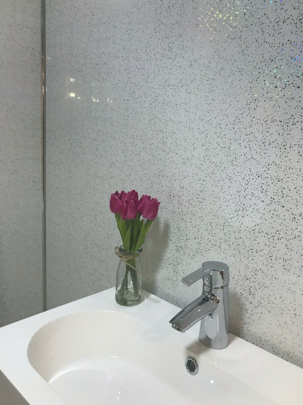 10 white black grey sparkle  marble shower wall panels
