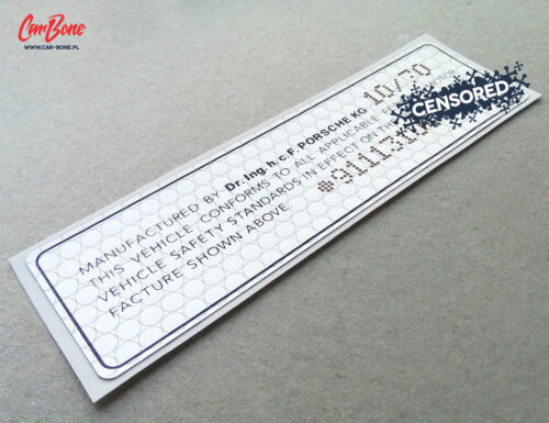 VIN DOOR JAMB DECAL porsche sticker technical 1969 – 1971 911