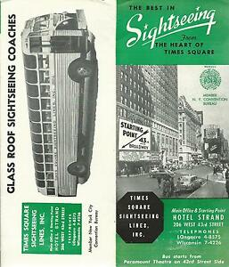 New York City Times Square Sightseeing Lines Brochure Circa 1950's Ten Tours