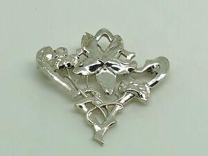 Gorgeous-Vintage-Sterling-Silver-Art-Nouveau-Style-Flower-amp-Leaf-Brooch