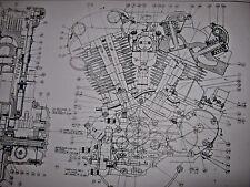 HARLEY DAVIDSON 5 blueprints 45 Flat Shovel Knuckle head Trans Prints poster lot