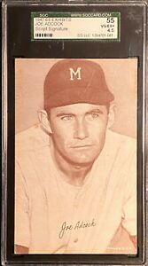 JOE ADCOCK 1947-66 Exhibits #2A Script Signature Milwaukee Braves SGC VG/EX+ 4.5