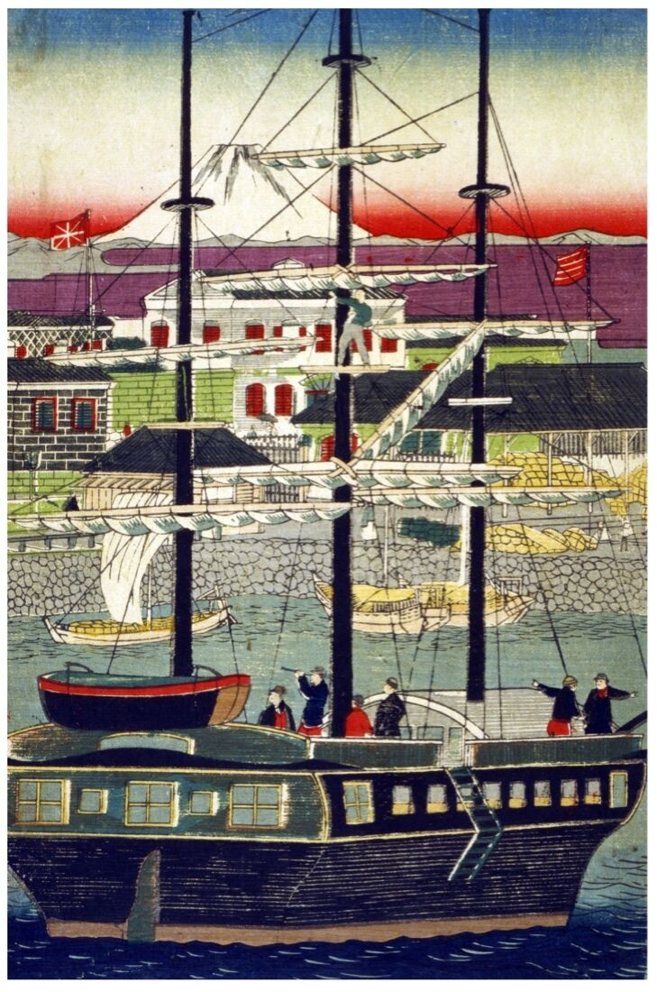 7329.Large ship with sails going upstream river.POSTER.Interior art wall decor