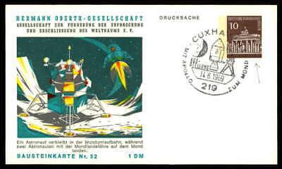Berlin Privat-ga 1969 Weltraum Space Bausteinlarte 52 Hog Hermann Oberth Ep53