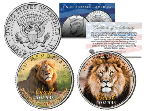 CECIL the LION African Colorized 2015 JFK Half Dollar 2-Coin Set In Memoriam