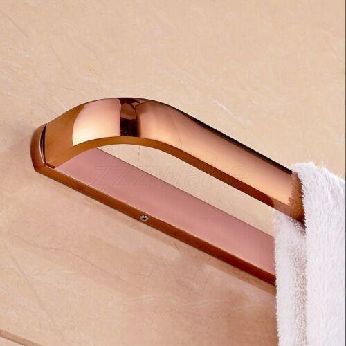 Wall Mounted Rose Gold Brass Bathroom Towel Rack Bar Square Single Towel Bar