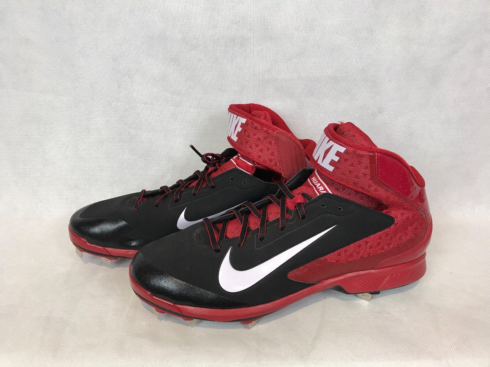 cd8448664ef3 Nike Air Huarache Pro Mid Baseball Cleats Black Red White 599235-016 ...