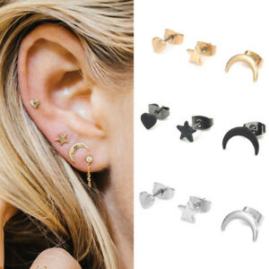 Women-039-s-3pcs-Cute-Small-Moon-Star-Heart-Ear-Stud-Earrings-Set-Punk-Jewelry-Gift
