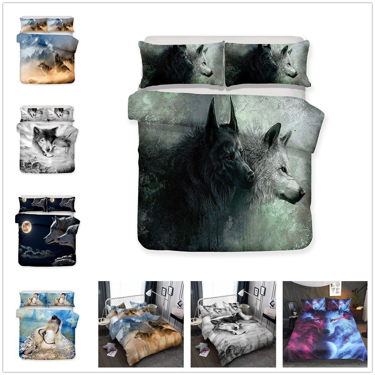 3D Forest Animal Wolf Duvet Cover Set Quilt Doona Cover Bedding Set Pillowcase