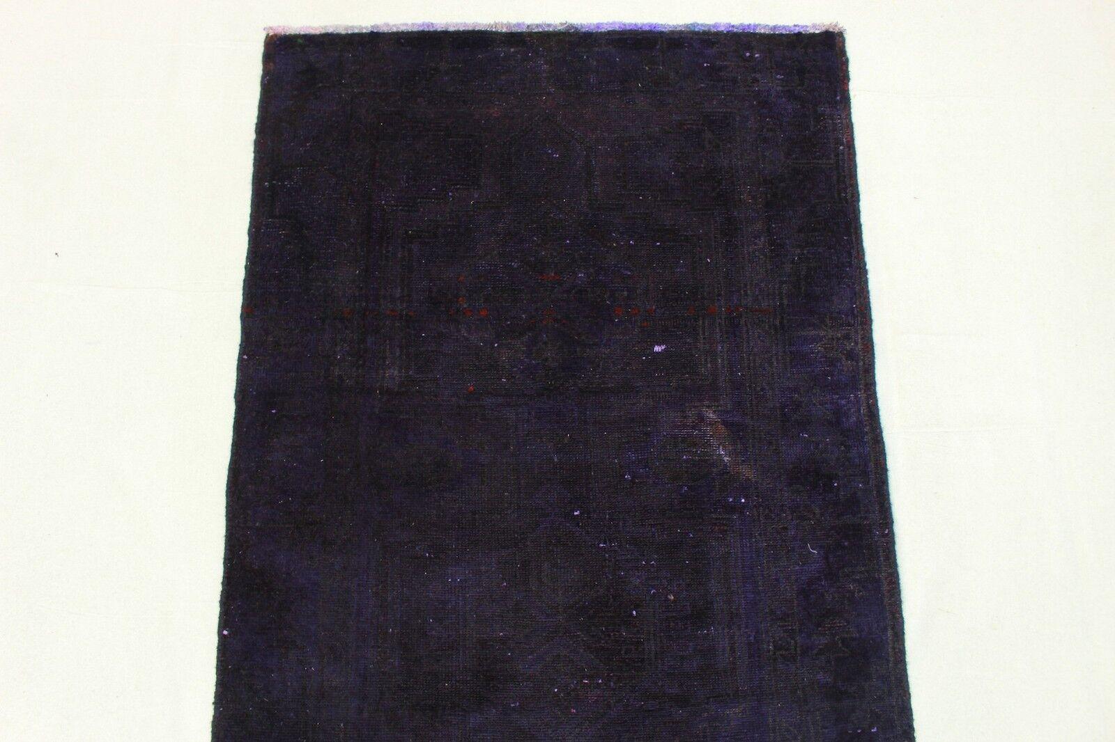 Orient Teppich Vintage modern modern modern Used Look lila 280x90 Läufer handgeknüpft 2818a 80294a