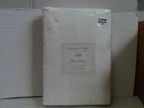 Deyongs Sateen Stripe 300 T//c Cotton Super King Duvet Cover Set White