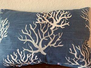 Details About Navy Coral Reef Decorative Lumbar Pillow 13 X 18