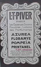 PUBLICITE PARFUM L.T. PIVER AZUREA FLORAMYE POMPEIA PRINTANEL DE 1926 FRENCH AD