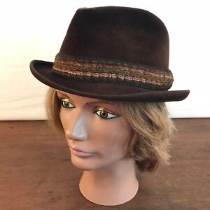 916b35e2c9c Vintage Berg Fifth Avenue New York Velour Fedora Hat Mens Size Small ...