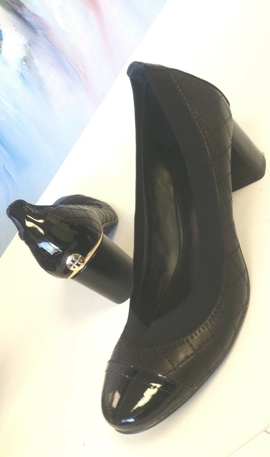 Tory Burch Carrie Women's Quilted Black Leather Cap Toe Pump Sz 7M EUC
