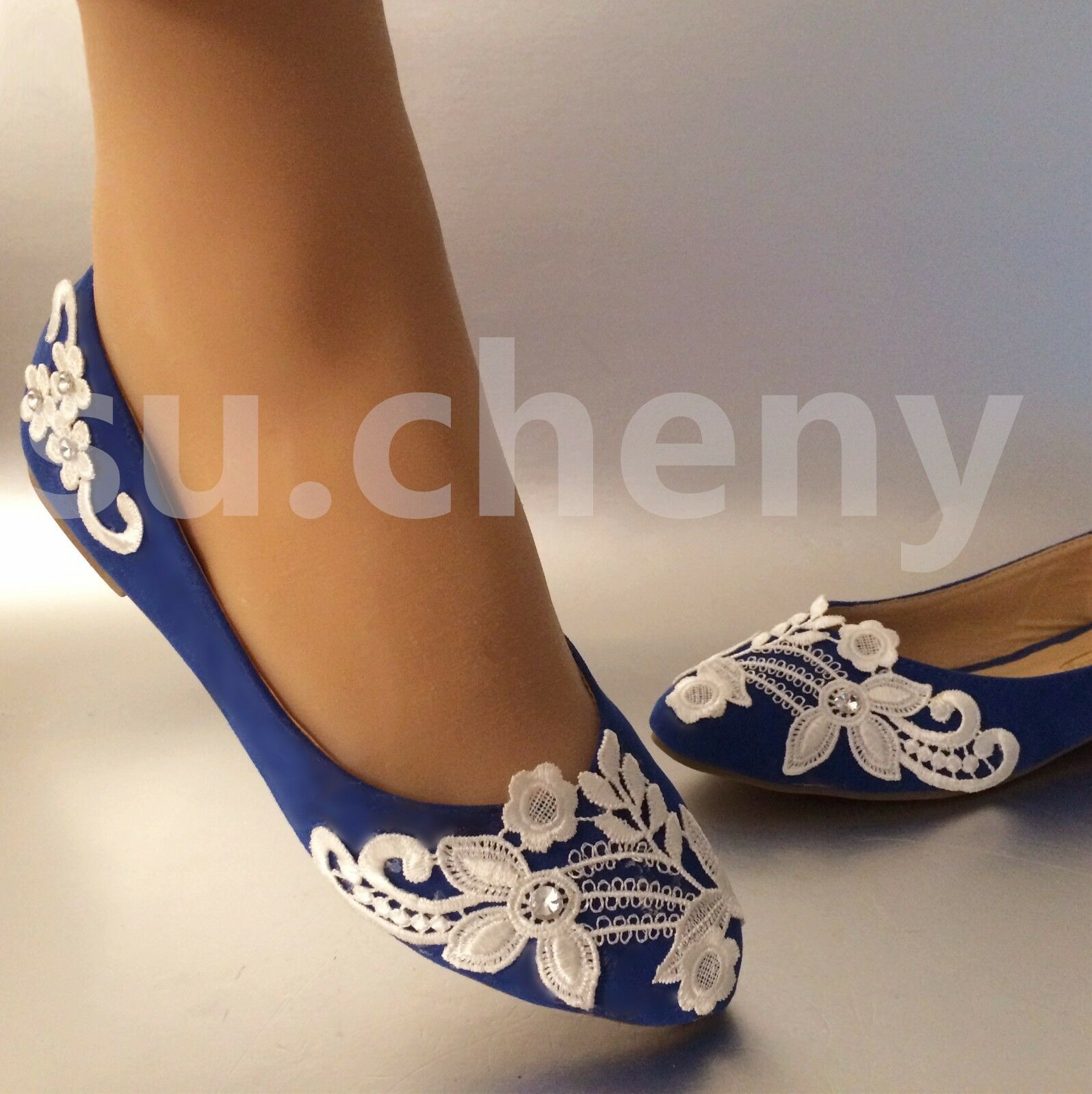 su.cheny Sapphire blue lace flower Wedding flat Bridal Bridesmaid shoes