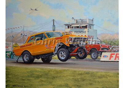 Drag Racing action prints..'63 Nova gasser at Fremont raceway...